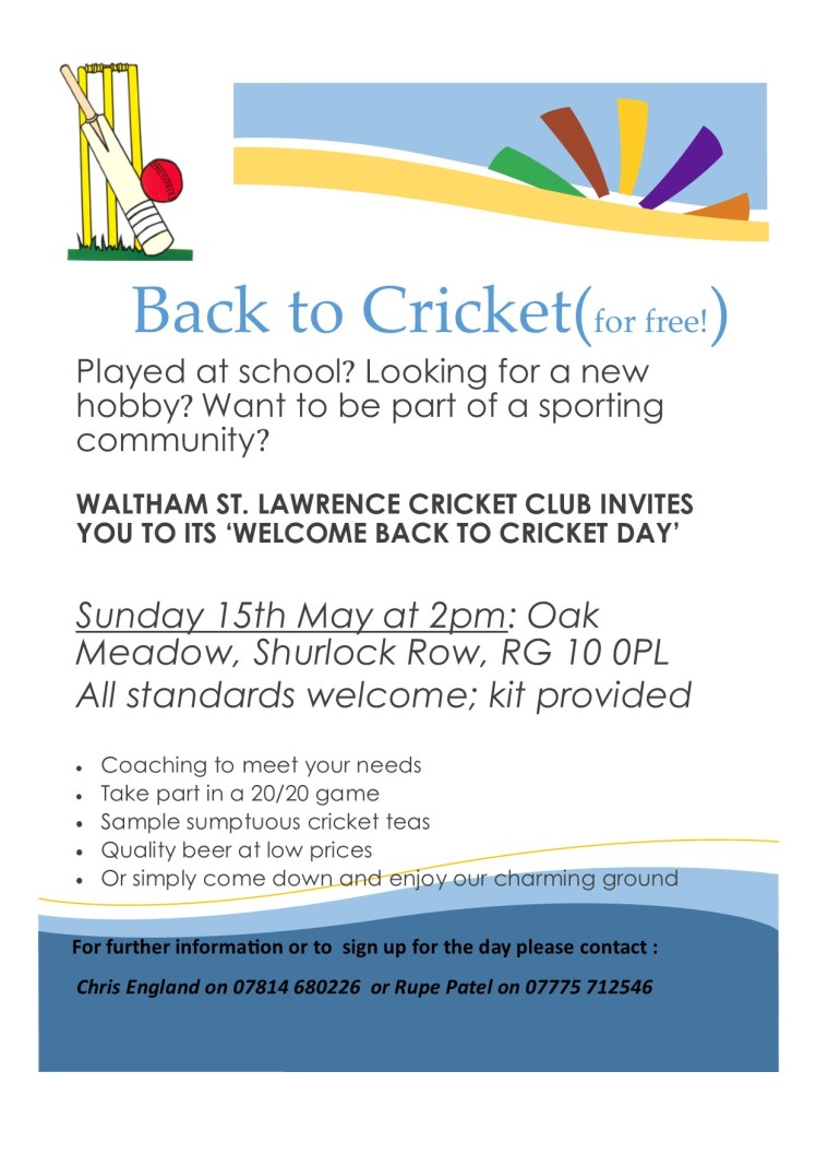 WSLCC Back to Cricket