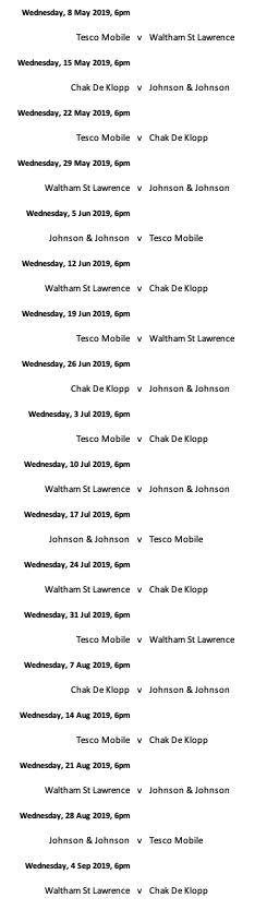 T20 Fixtures